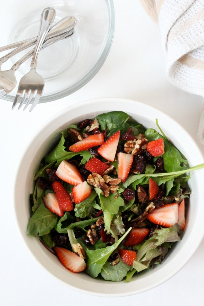 Strawberry Pecan Salad with Maple Dressing