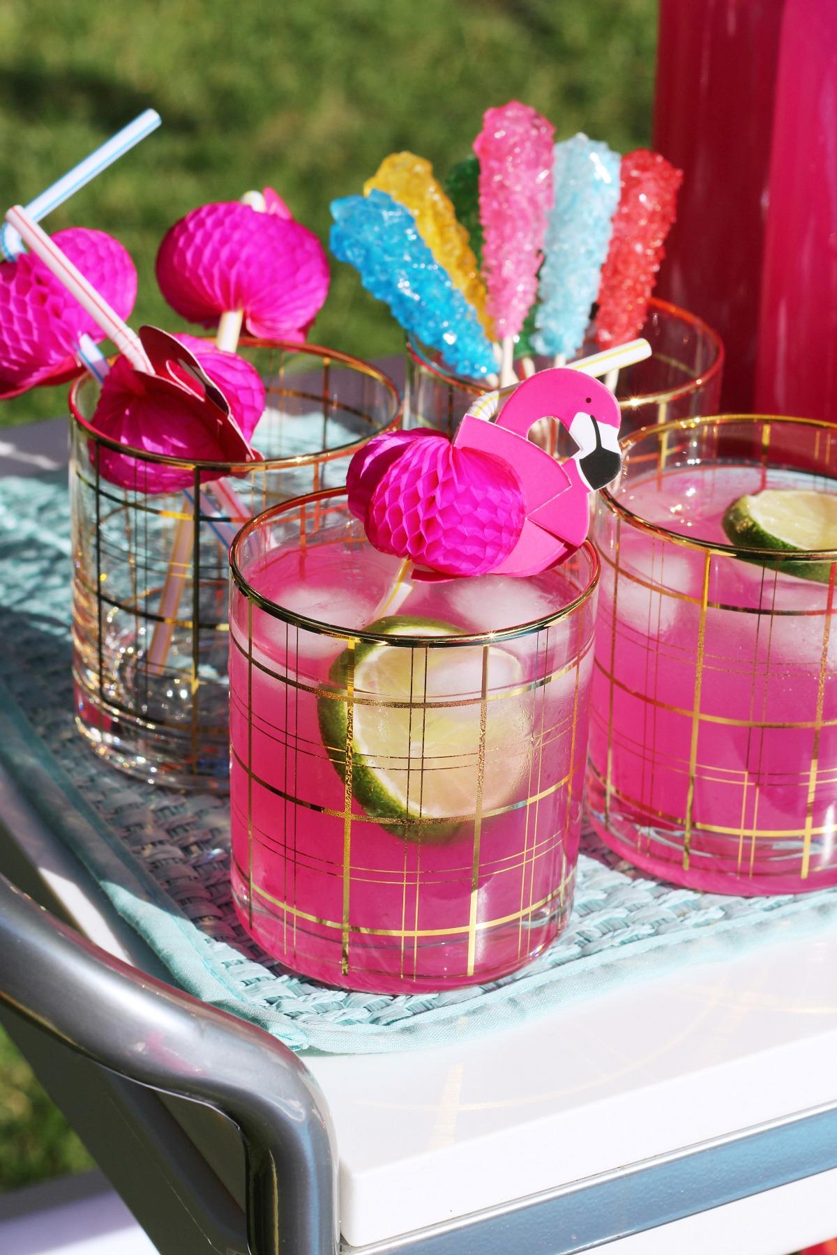 Pink Lemonade and flamingo
