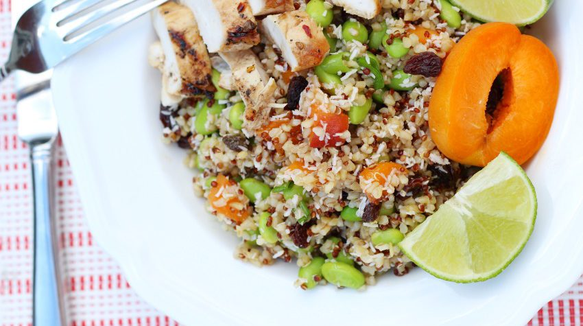 Summer Apricot Quinoa Salad with Lime Dressing