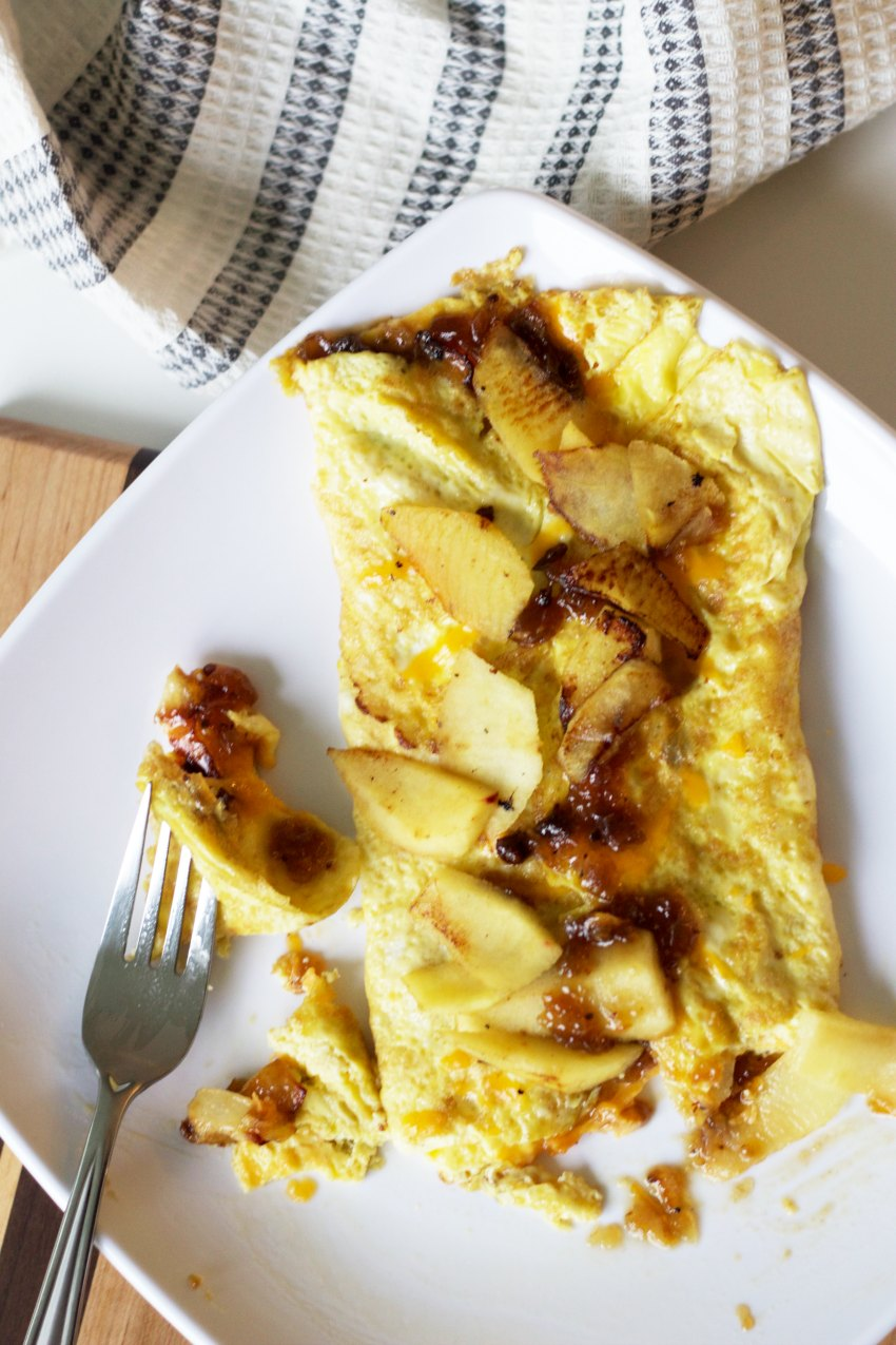 Apple Cheddar Omelette with Bacon Marmalade