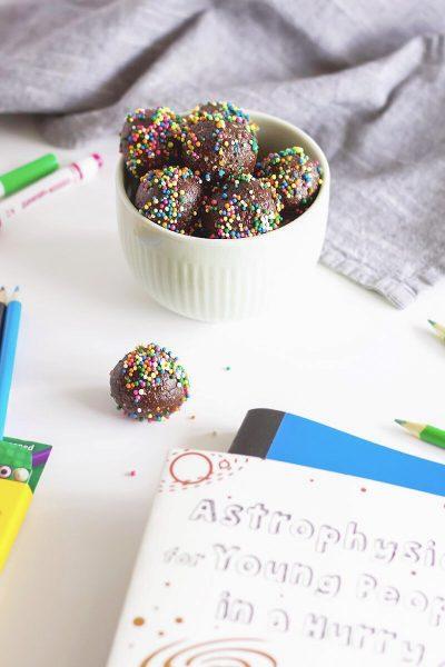 Chocolate Rainbow Sprinkle Energy Bites In Bowl