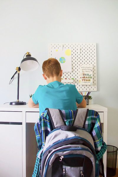 boy sitting at IKEA desk